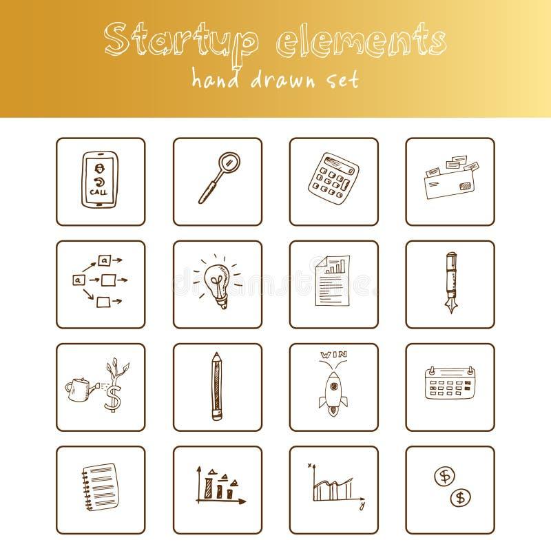 Początkowa ręka rysujący elementu doodle set nakreślenia Wektorowa ilustracja dla projekta i pakunków produktu Symbol kolekcja royalty ilustracja