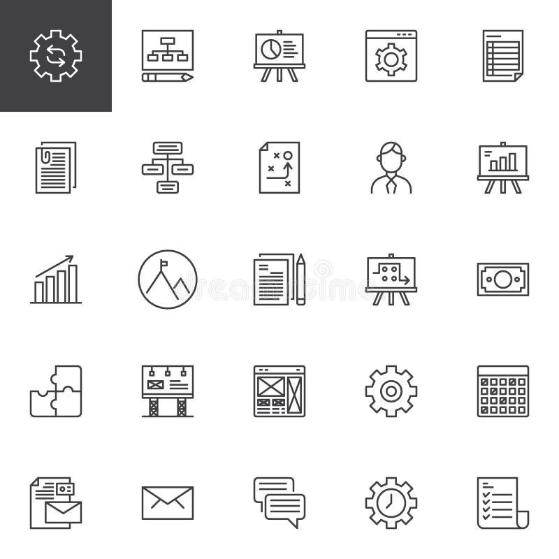 Początkowe i nowe biznesowe kontur ikony ustawiać ilustracja wektor