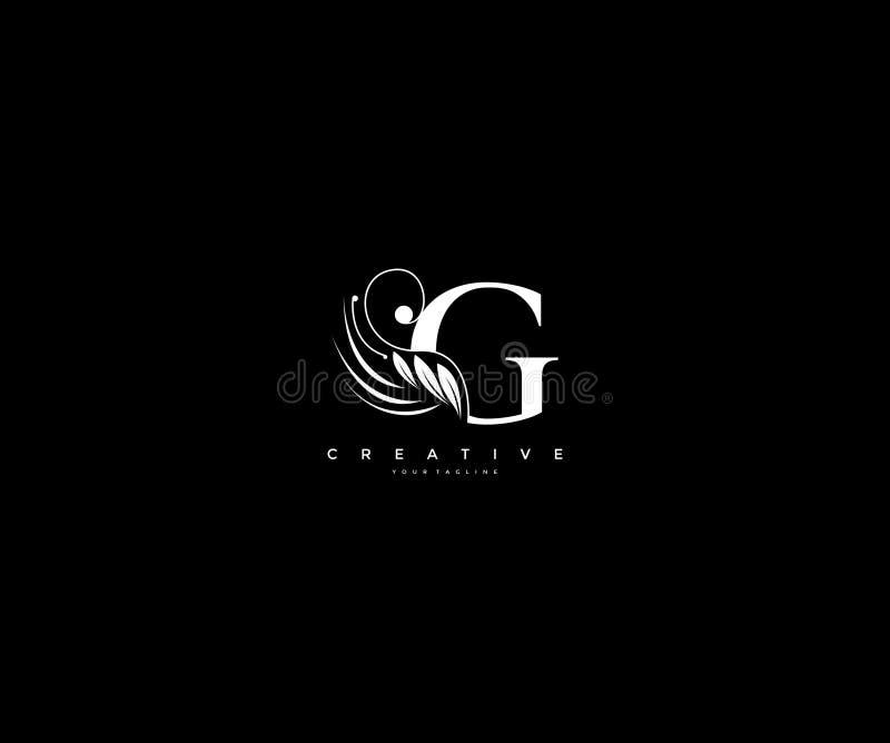 Początkowego G listu piękna luksusowi zawijasy ornamentują monograma logo ilustracji