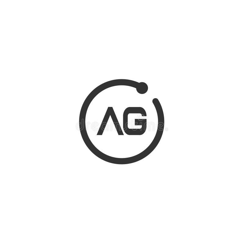Początkowego listu AG loga szablonu Wektorowy projekt royalty ilustracja