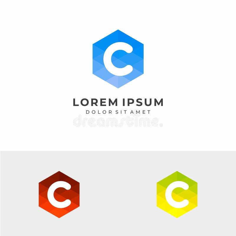Początkowego listu C sześciokąta logo ilustracja wektor