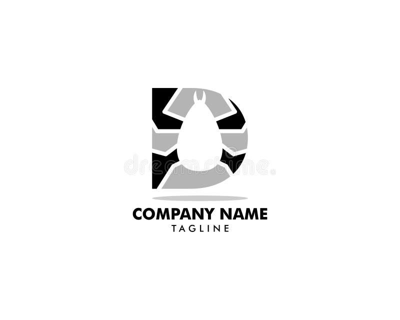 Początkowego listu d z pchieł zwierząt projekta logo wektorem ilustracja wektor