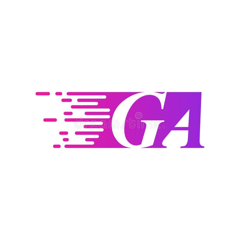 Początkowego listu dziąsła poścą ruszający się logo purpur menchii wektorowego kolor ilustracji