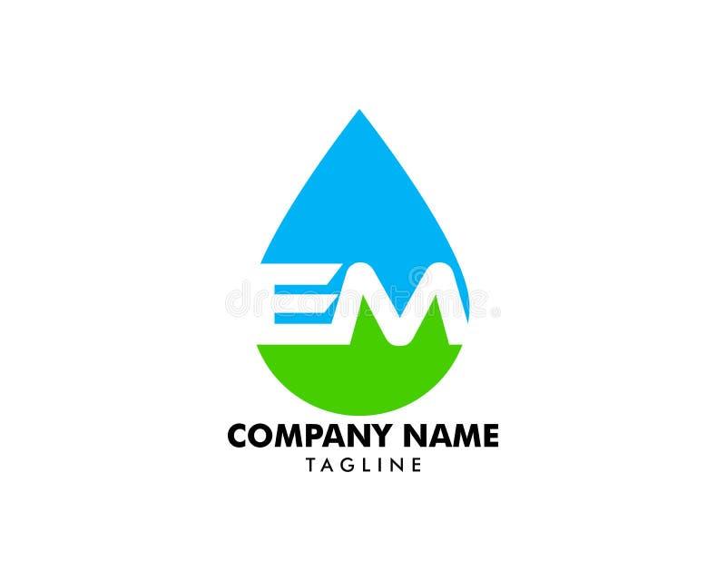 Początkowego listu EM Z wody kropli logo ilustracja wektor