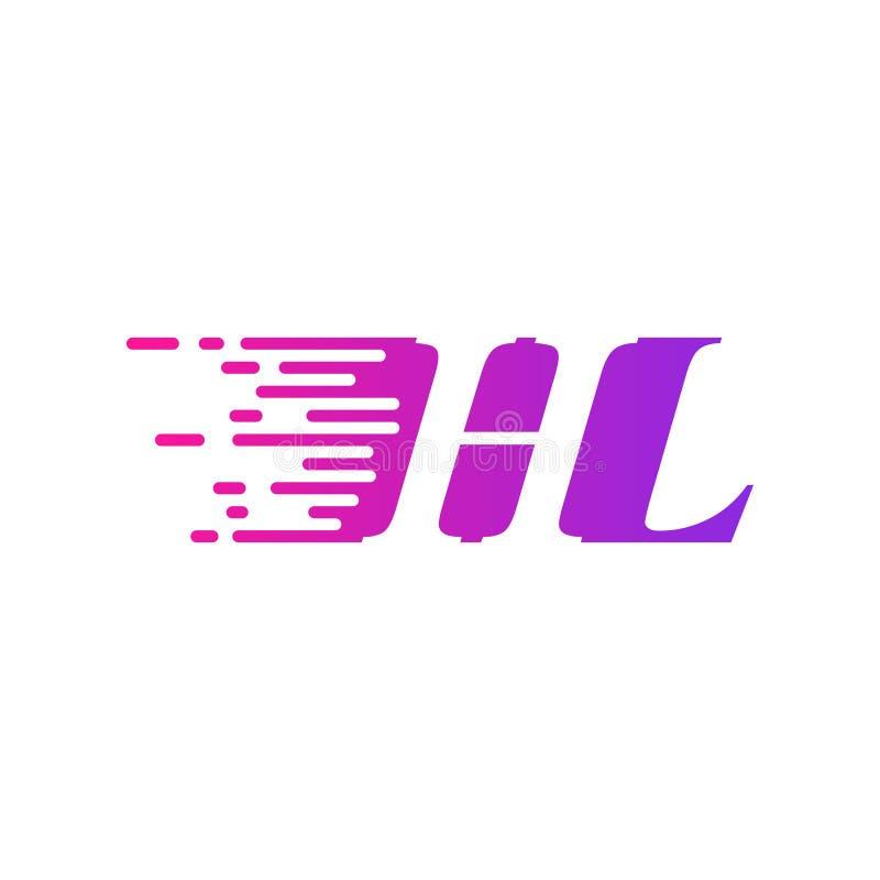 Początkowego listu HL poścą ruszający się logo purpur menchii wektorowego kolor ilustracji