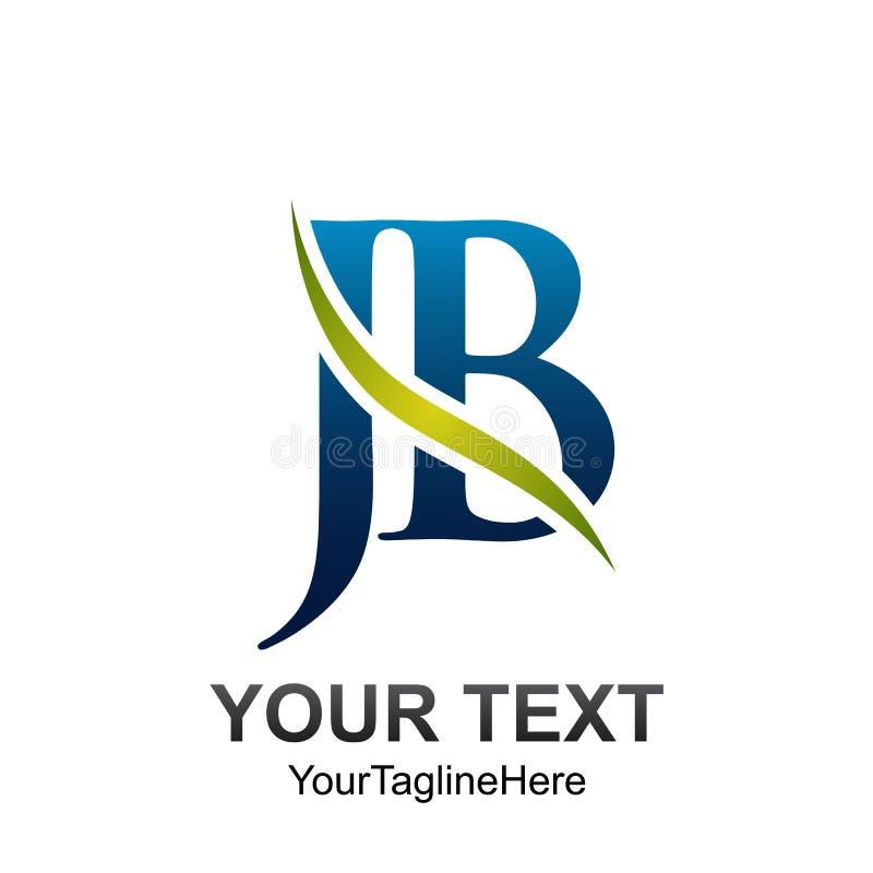 Początkowego listu JB loga szablon barwił zielonego błękit fala swoosh d ilustracja wektor