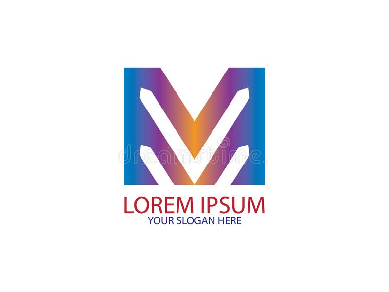 Początkowego listu M wzgórza projekta Halnego logo Graficzny Oznakuje Listowy element royalty ilustracja
