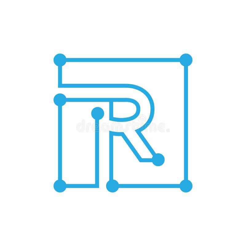 Początkowego listu R blockchain loga kwadrata konturu uderzenie ilustracji