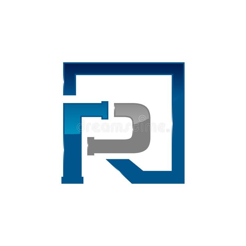 Początkowego listu R instalacji wodnokanalizacyjnej firmy logo pojęcia projekt z 3d stylem ilustracja wektor