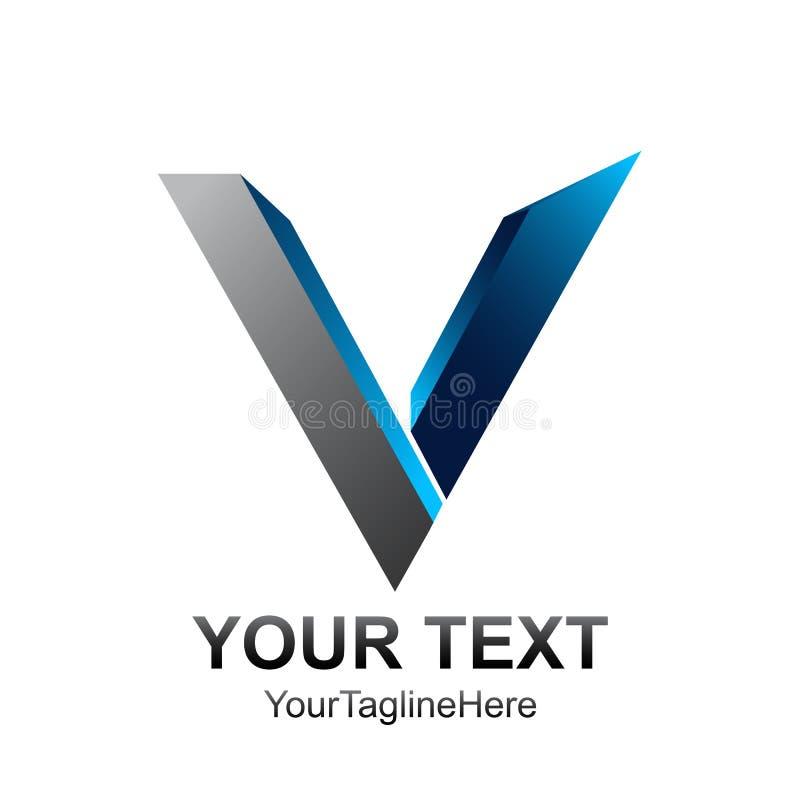 Początkowego listu V loga szablon barwił błękit sfery 3d srebnego des ilustracja wektor