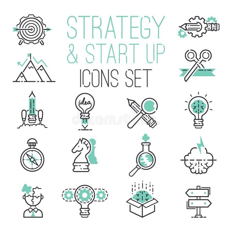 Początkowej strategia konturu sieci biznesowej ikony stron internetowych ui ustalony finanse zaczyna up wektorowych symbole royalty ilustracja