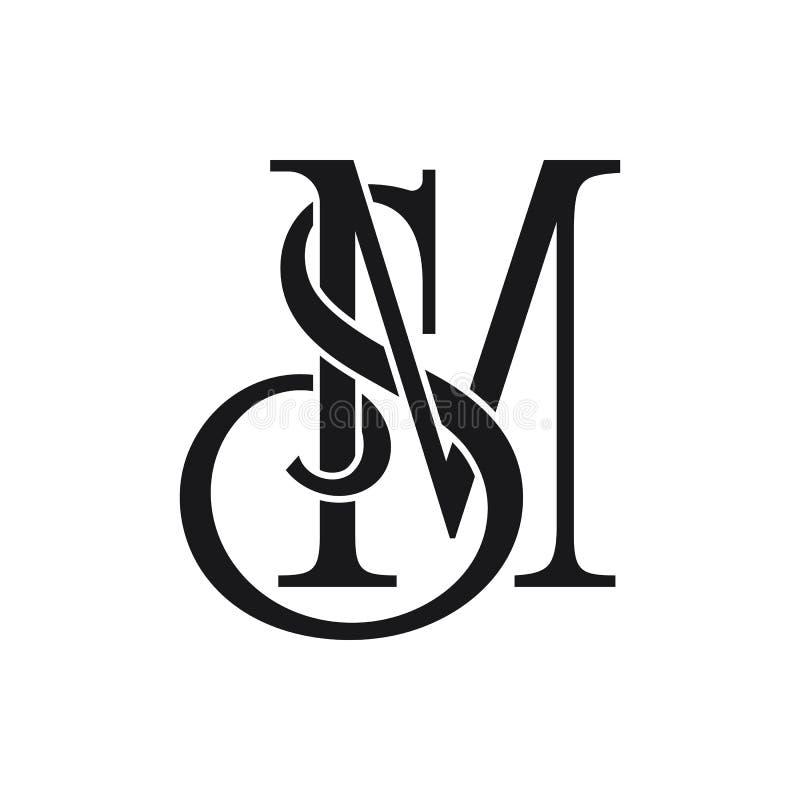 Początkowi SM listu logo pomysły projektują wektorową ilustrację royalty ilustracja