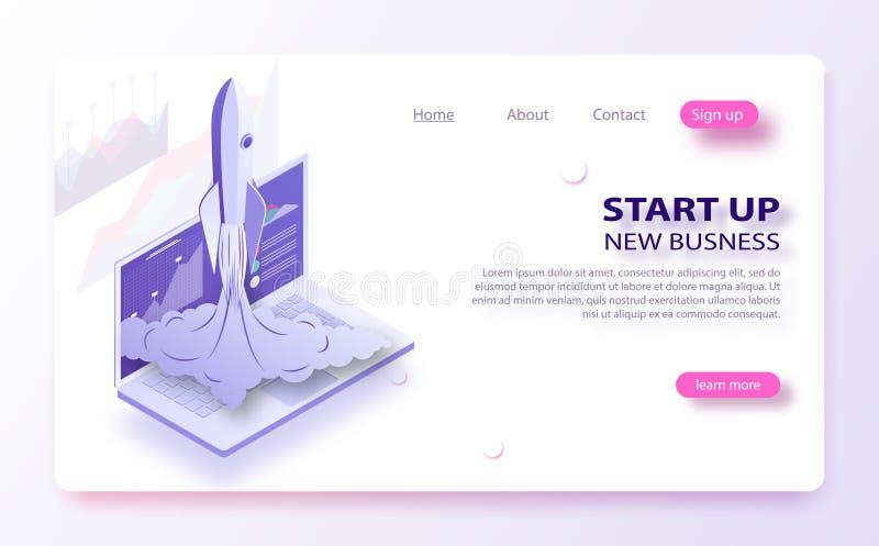 Początkowy biznesowy pojęcie Statek kosmiczny rozbija na zewnątrz laptopu ekranu Pojęcie nowy biznesowy projekt ilustracja wektor