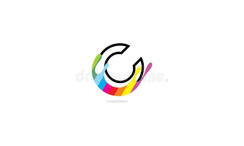 Początkowy C maluje logo ikony wektorowego kolor ilustracja wektor