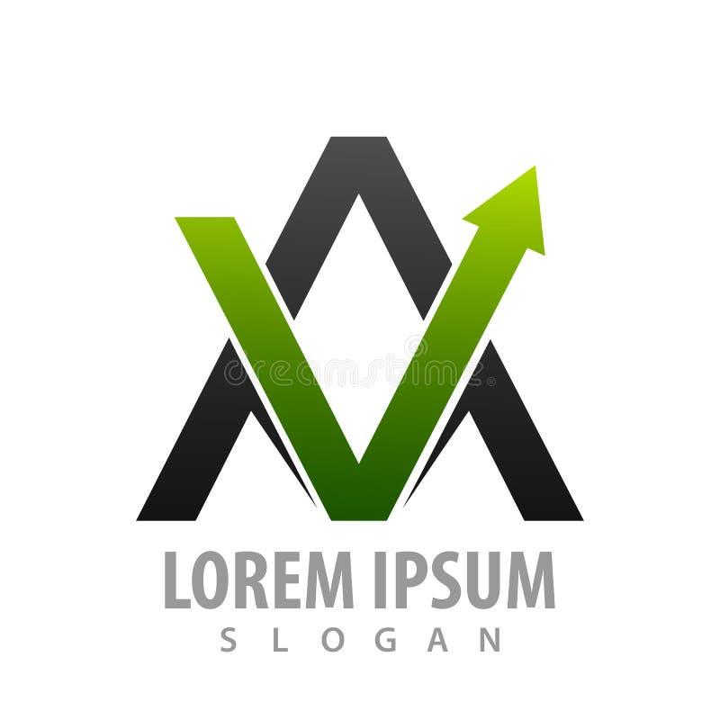 Początkowy list AV z zieloną strzałą w górę pojęcie projekta Symbolu szablonu elementu graficzny wektor royalty ilustracja
