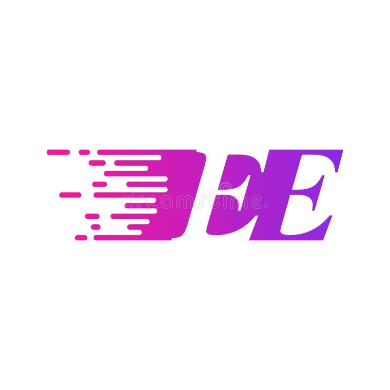 Początkowy list EE pości ruszający się logo purpur menchii wektorowego kolor ilustracja wektor