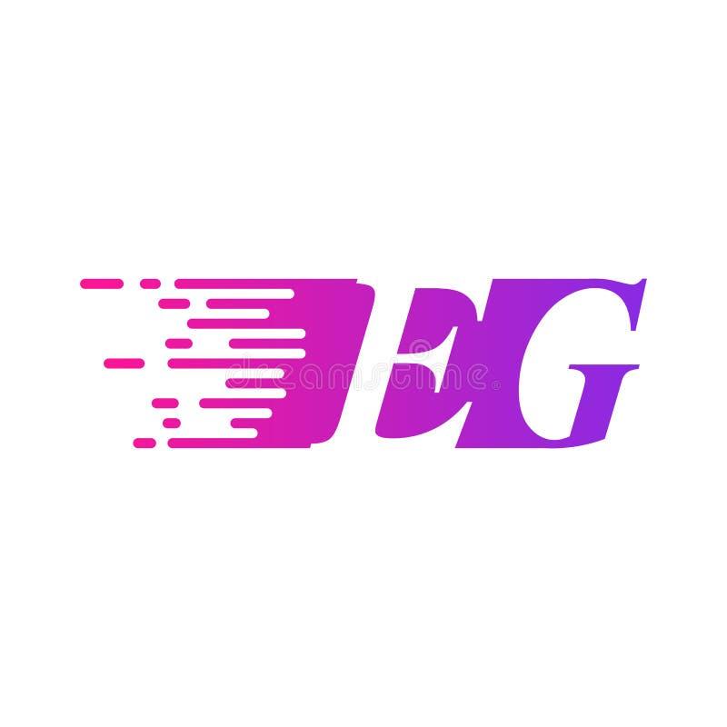 Początkowy list EG. szybkiego poruszającego logo purpur menchii wektorowy kolor ilustracja wektor