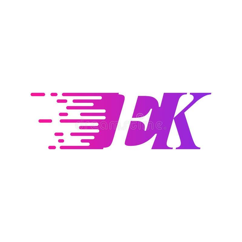Początkowy list EK pości ruszający się logo purpur menchii wektorowego kolor royalty ilustracja