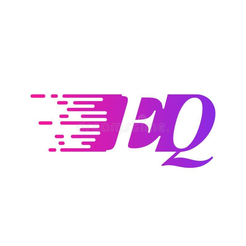 Początkowy list EQ pości ruszający się logo purpur menchii wektorowego kolor royalty ilustracja