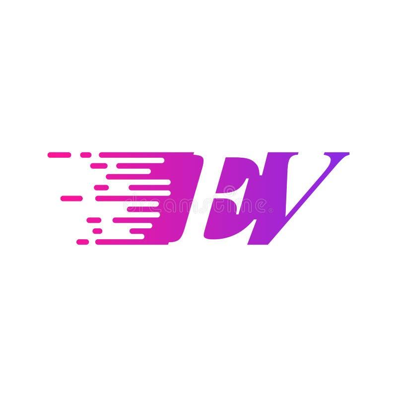 Początkowy list EV pości ruszający się logo purpur menchii wektorowego kolor ilustracja wektor