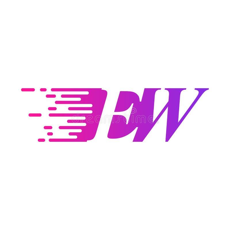 Początkowy list EW pości ruszający się logo purpur menchii wektorowego kolor royalty ilustracja