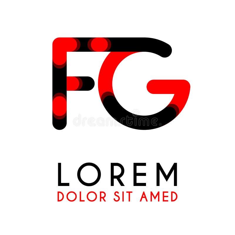 początkowy list FG z czerwony Czarnym i zaokrąglał kąty ilustracji