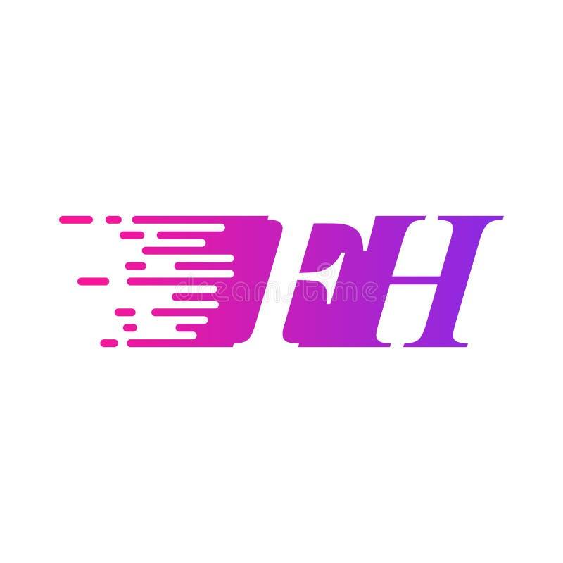 Początkowy list FH pości ruszający się logo purpur menchii wektorowego kolor ilustracji