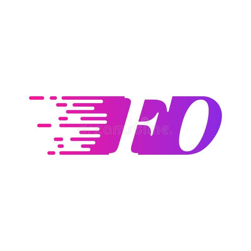 Pocz?tkowy list FO po?ci ruszaj?cy si? logo purpur menchii wektorowego kolor royalty ilustracja