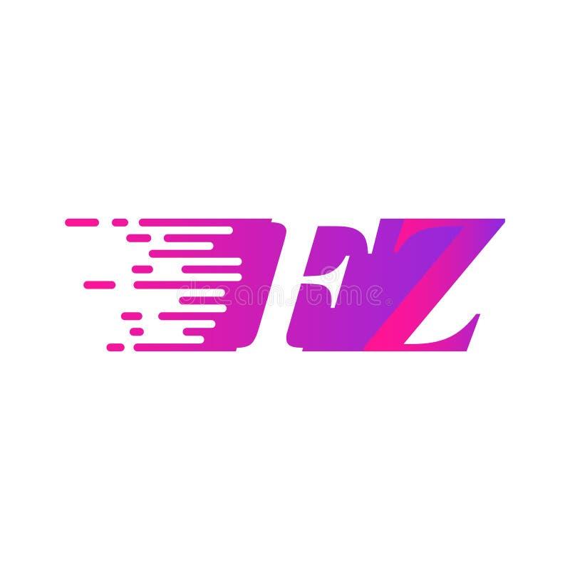 Początkowy list FZ pości ruszający się logo purpur menchii wektorowego kolor royalty ilustracja