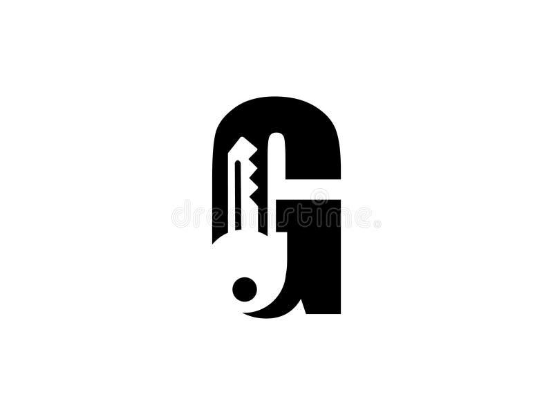 Początkowy list G z kluczowego czarny i biały projekta logo Graficznym Oznakuje Listowym elementem ilustracja wektor