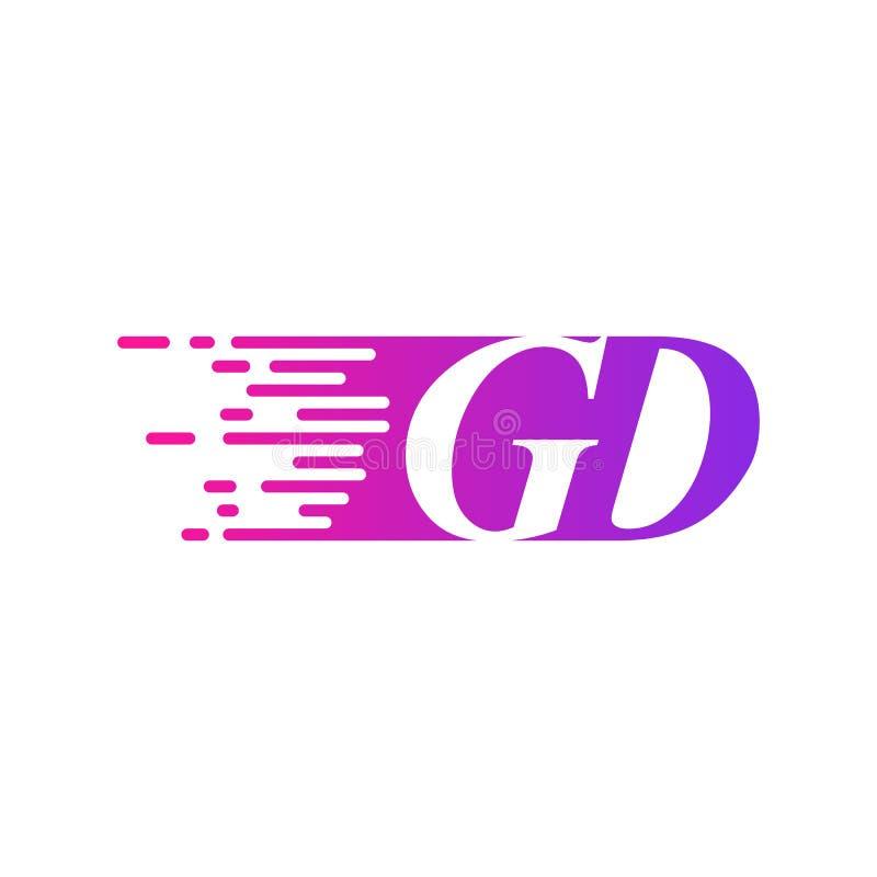 Początkowy list GD pości ruszający się logo purpur menchii wektorowego kolor ilustracji