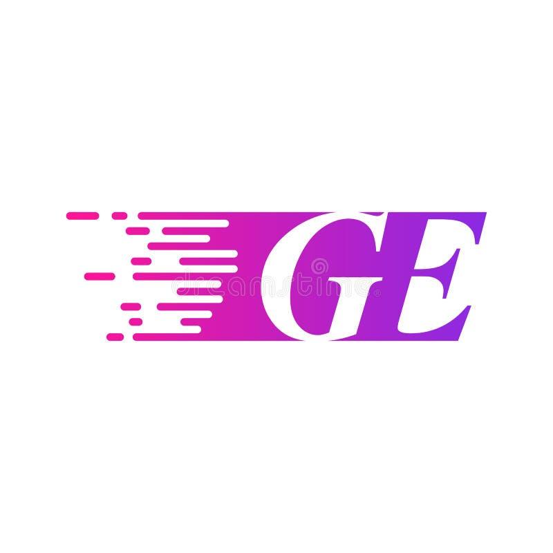 Początkowy list GE pości ruszający się logo purpur menchii wektorowego kolor royalty ilustracja