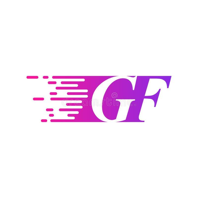 Początkowy list GF pości ruszający się logo purpur menchii wektorowego kolor ilustracja wektor