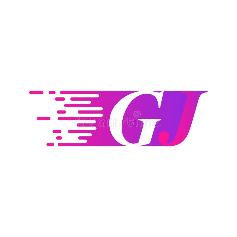 Początkowy list GJ pości ruszający się logo purpur menchii wektorowego kolor ilustracji