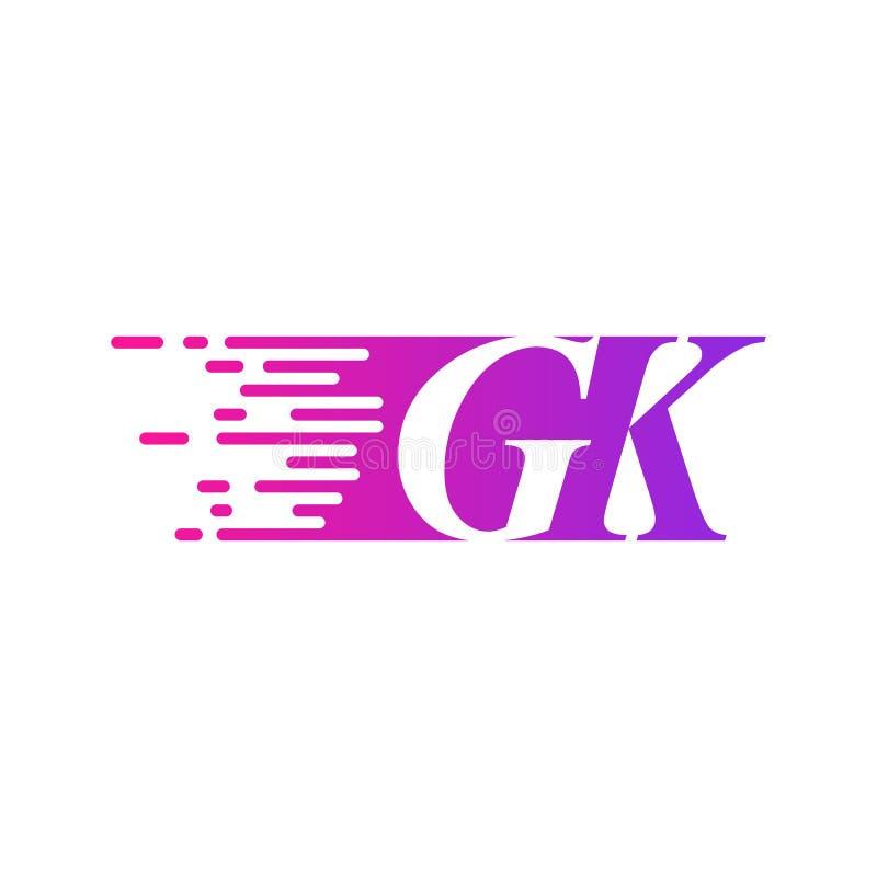 Początkowy list GK pości ruszający się logo purpur menchii wektorowego kolor ilustracja wektor