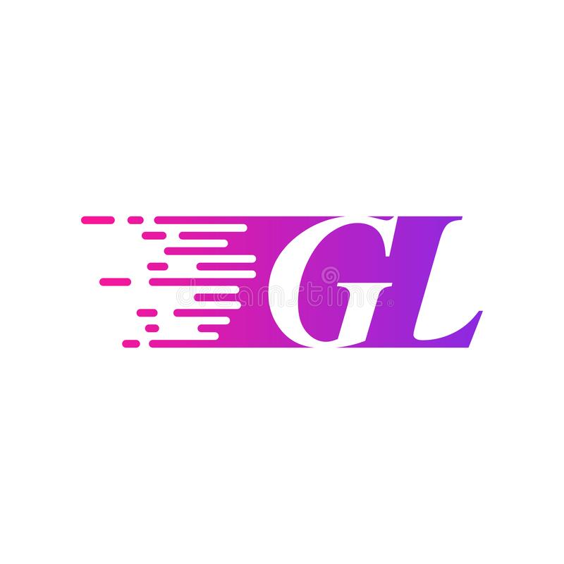 Początkowy list GL pości ruszający się logo purpur menchii wektorowego kolor ilustracji