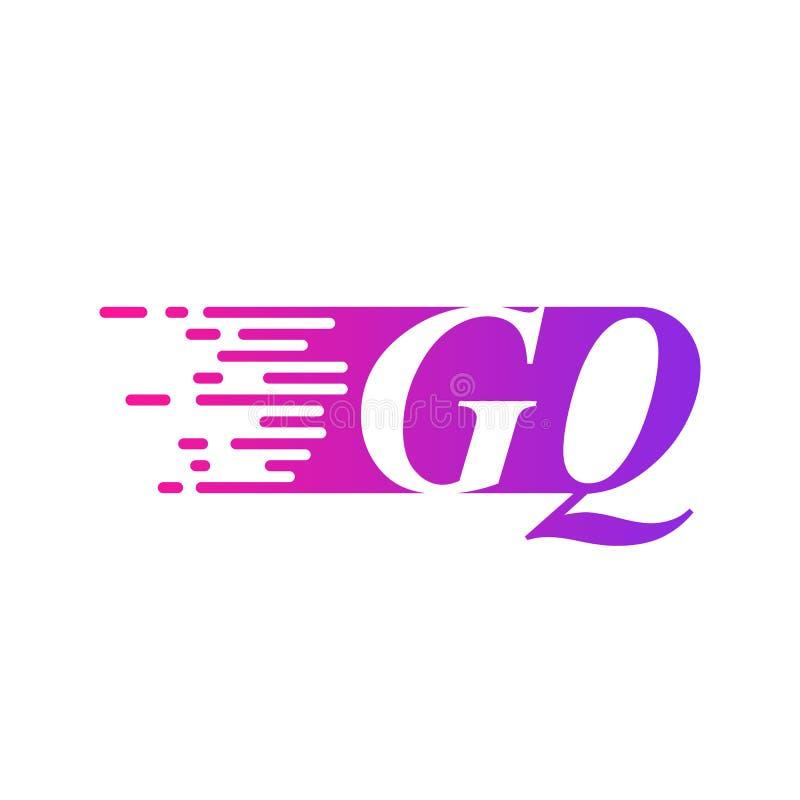 Początkowy list GQ pości ruszający się logo purpur menchii wektorowego kolor ilustracja wektor