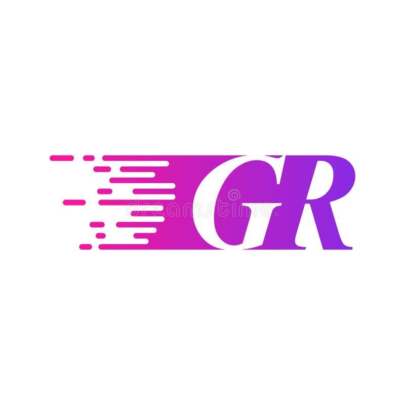 Początkowy list GR pości ruszający się logo purpur menchii wektorowego kolor ilustracji