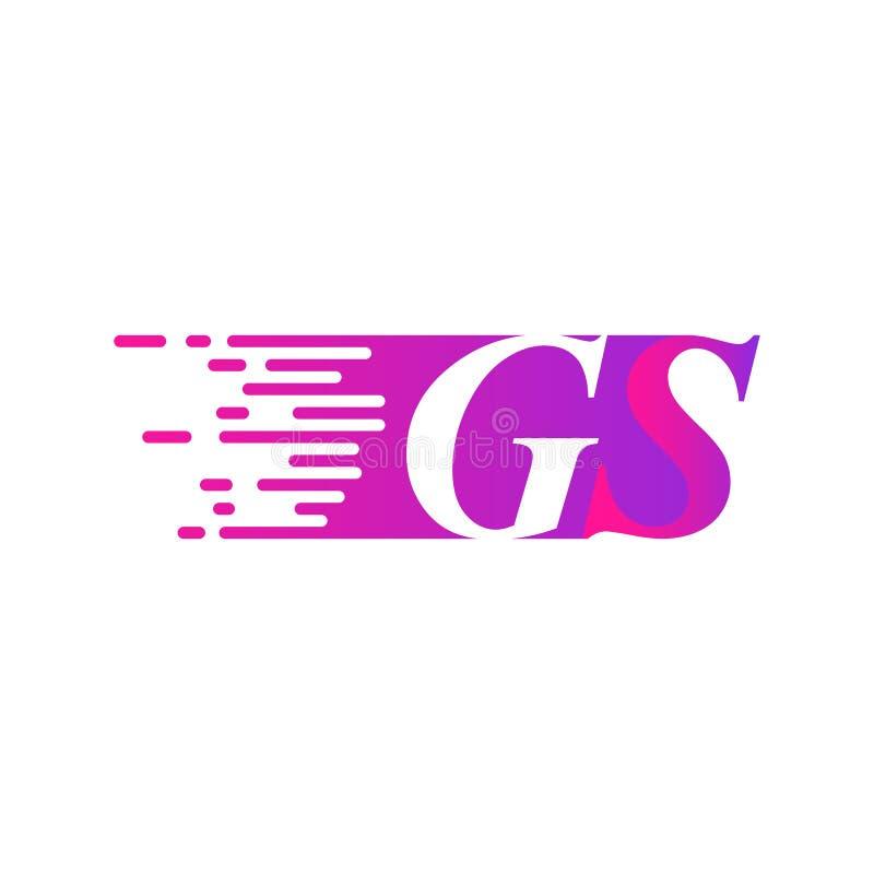 Początkowy list GS pości ruszający się logo purpur menchii wektorowego kolor ilustracji