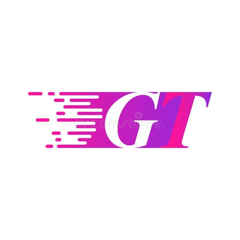 Początkowy list GT pości ruszający się logo purpur menchii wektorowego kolor ilustracja wektor