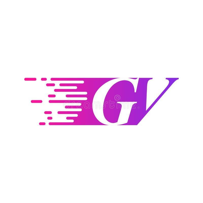 Początkowy list GV pości ruszający się logo purpur menchii wektorowego kolor ilustracji
