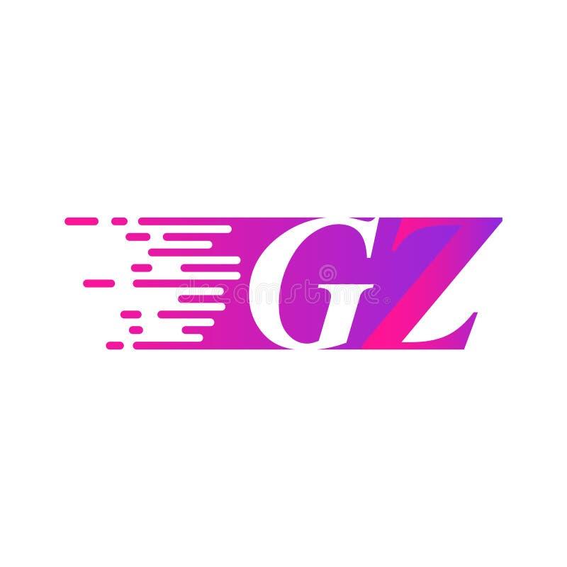 Początkowy list GZ pości ruszający się logo purpur menchii wektorowego kolor royalty ilustracja