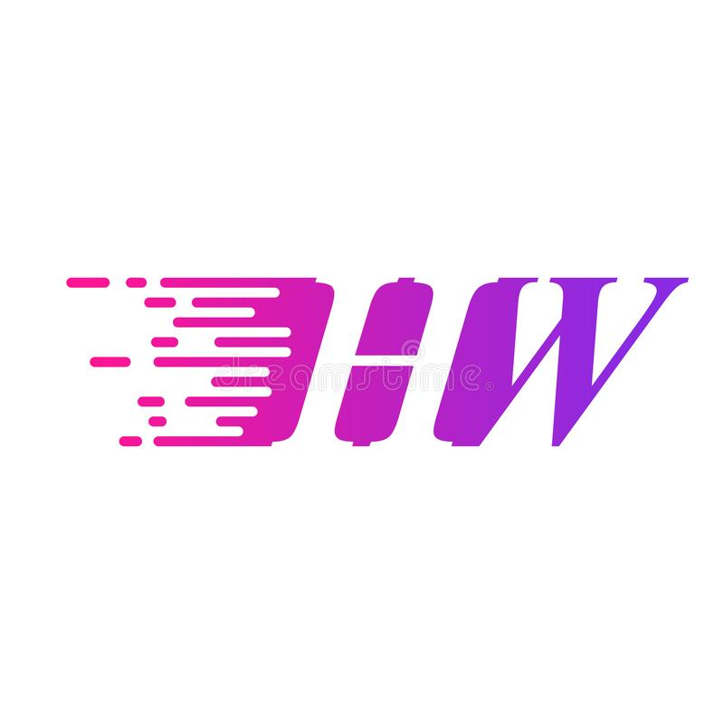 Początkowy list HW pości ruszający się logo purpur menchii wektorowego kolor ilustracja wektor