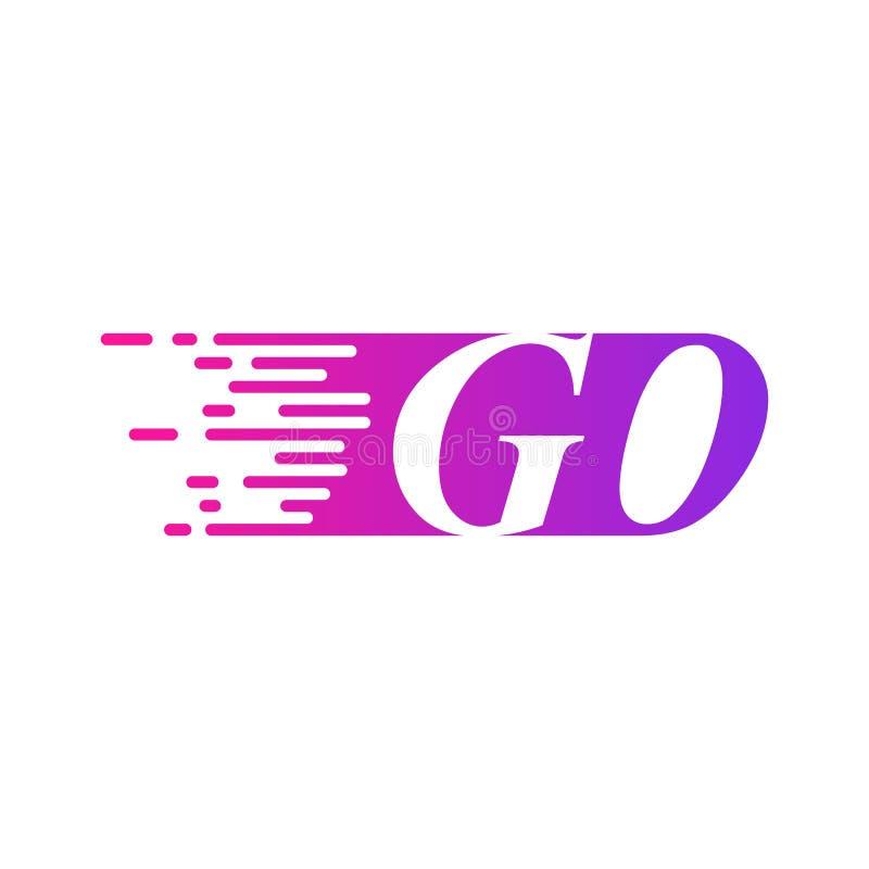 Początkowy list IŚĆ szybkiego poruszającego logo wektorowy purpur menchii kolor royalty ilustracja