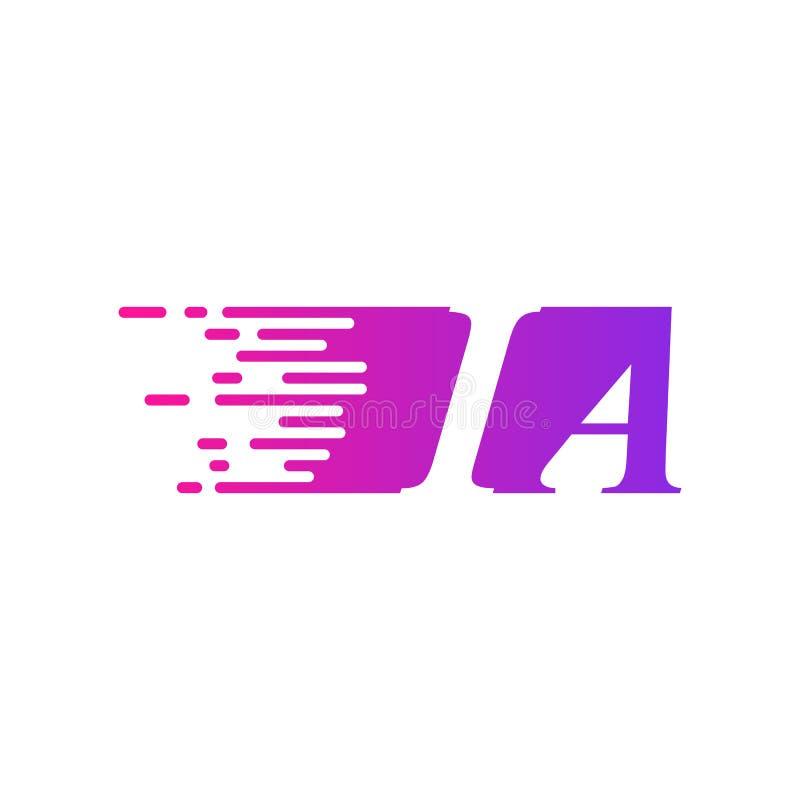 Początkowy list IA pości ruszający się logo purpur menchii wektorowego kolor ilustracji