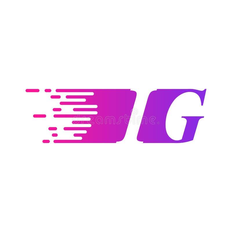 Początkowy list IG pości ruszający się logo purpur menchii wektorowego kolor royalty ilustracja