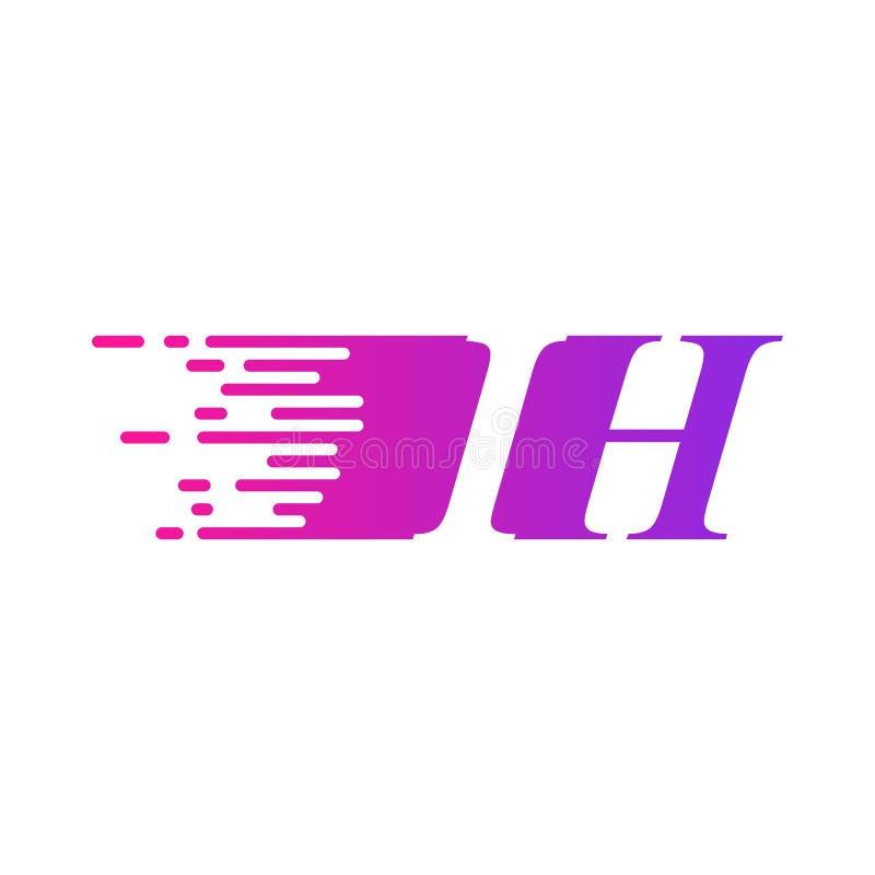 Początkowy list IH pości ruszający się logo purpur menchii wektorowego kolor ilustracja wektor