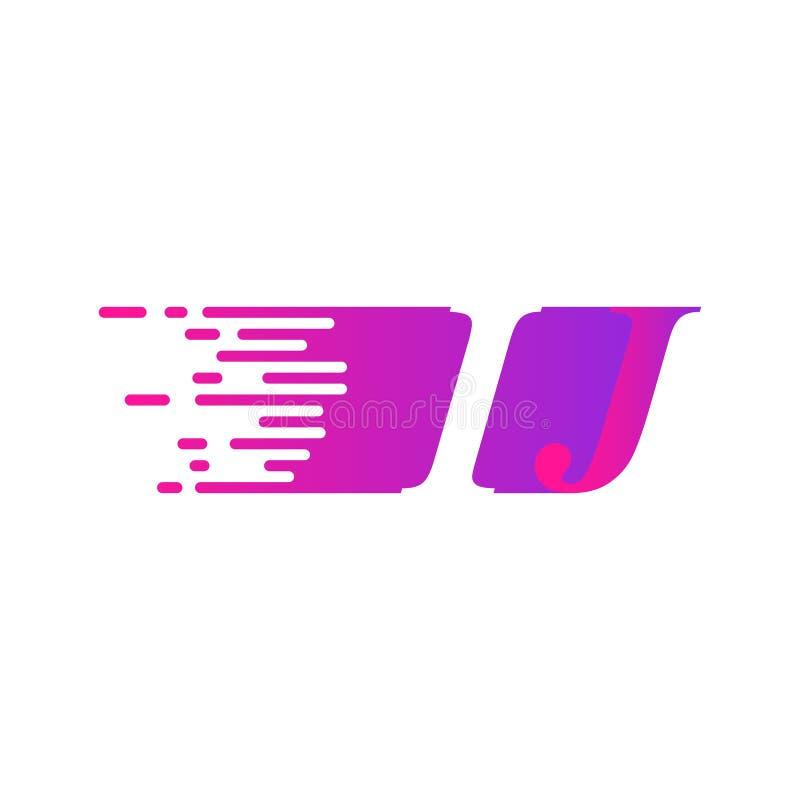 Początkowy list IJ pości ruszający się logo purpur menchii wektorowego kolor ilustracji