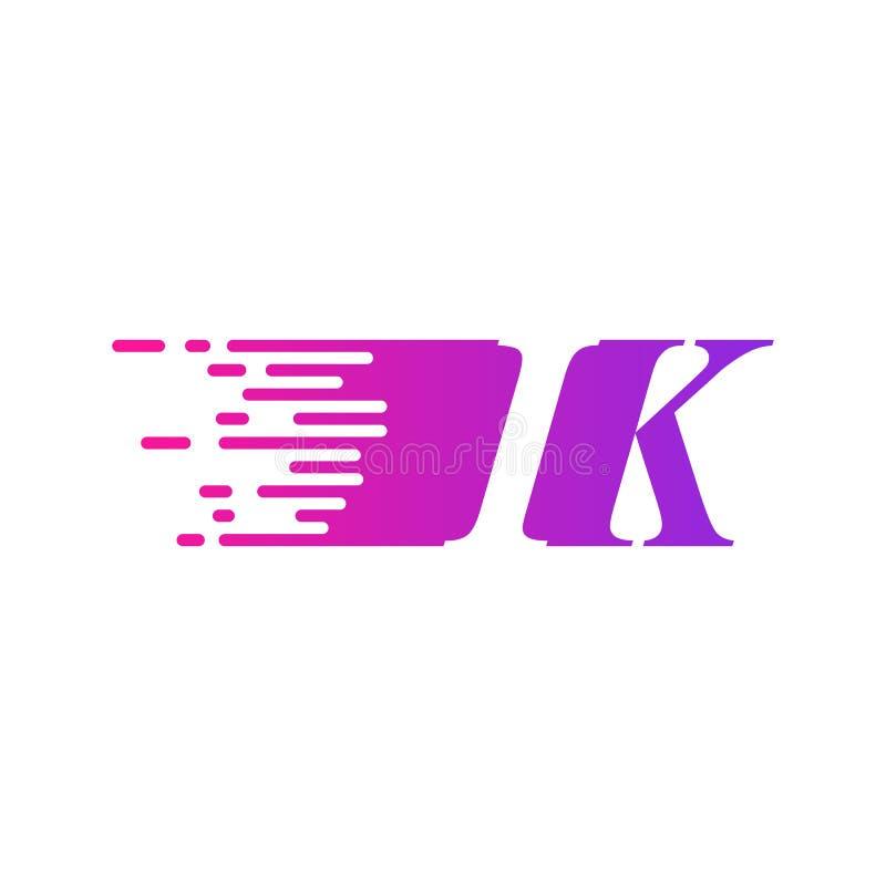 Początkowy list IK pości ruszający się logo purpur menchii wektorowego kolor royalty ilustracja