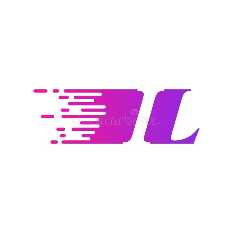 Początkowy list IL pości ruszający się logo purpur menchii wektorowego kolor ilustracja wektor